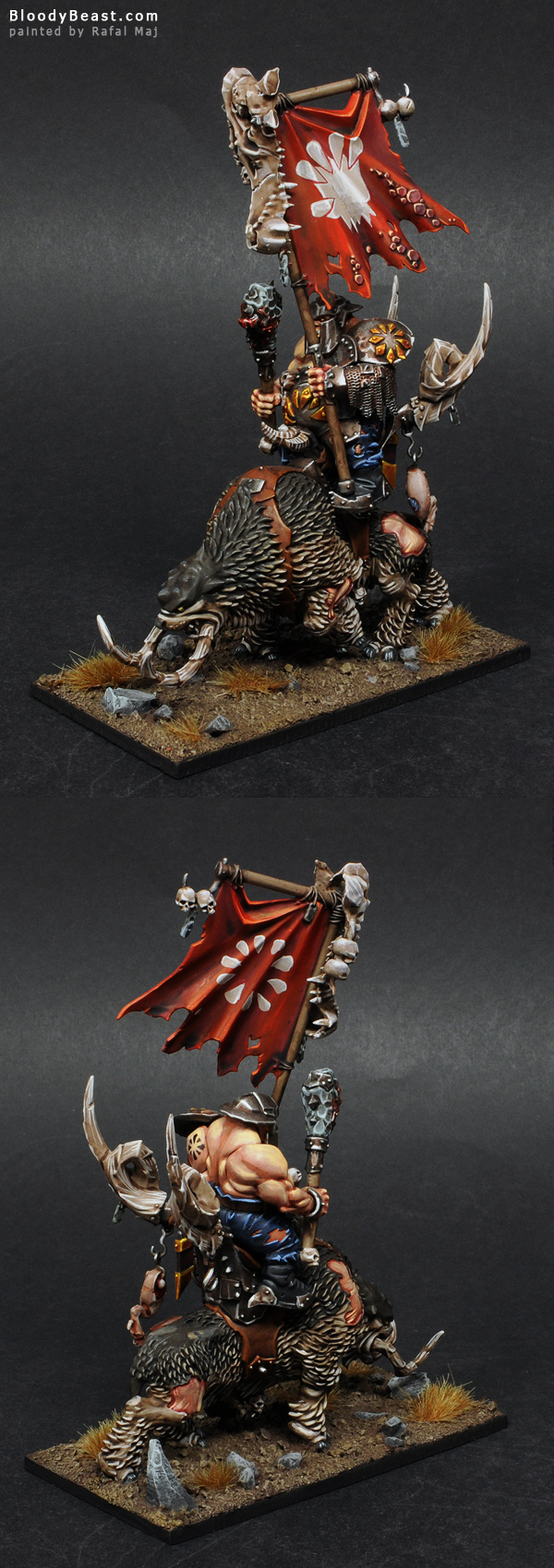 Ogre Mournfang Cavalry Standard painted by Rafal Maj (BloodyBeast.com)