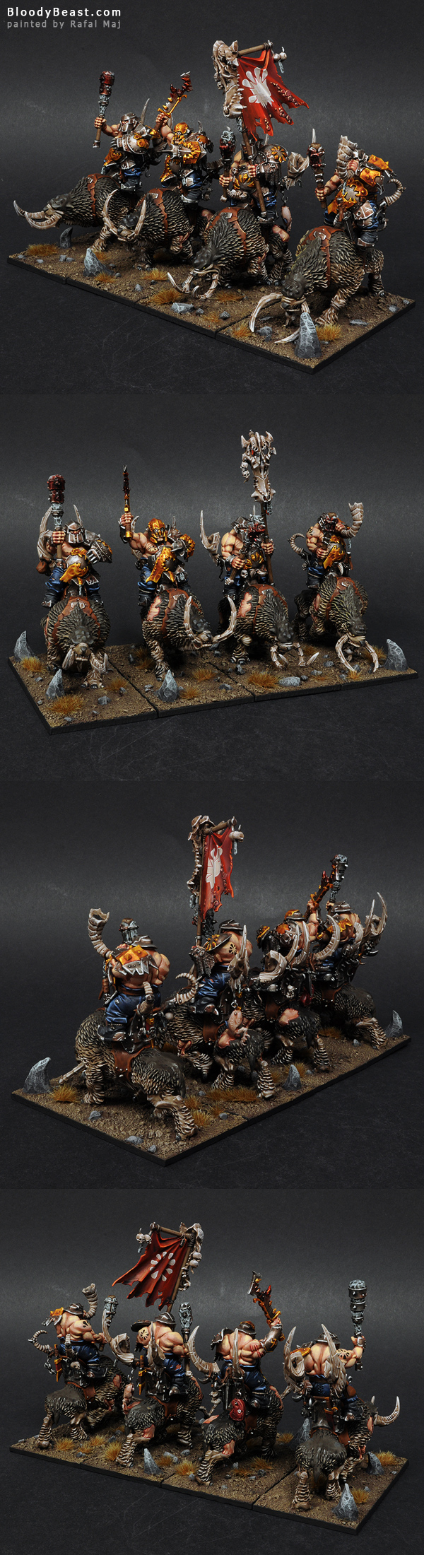 Ogre Mournfang Cavalry painted by Rafal Maj (BloodyBeast.com)