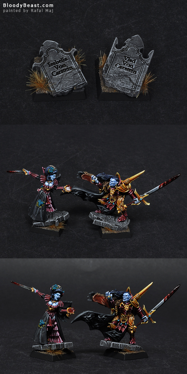 Bases for Isabella and Vlad Von Carsteins painted by Rafal Maj (BloodyBeast.com)