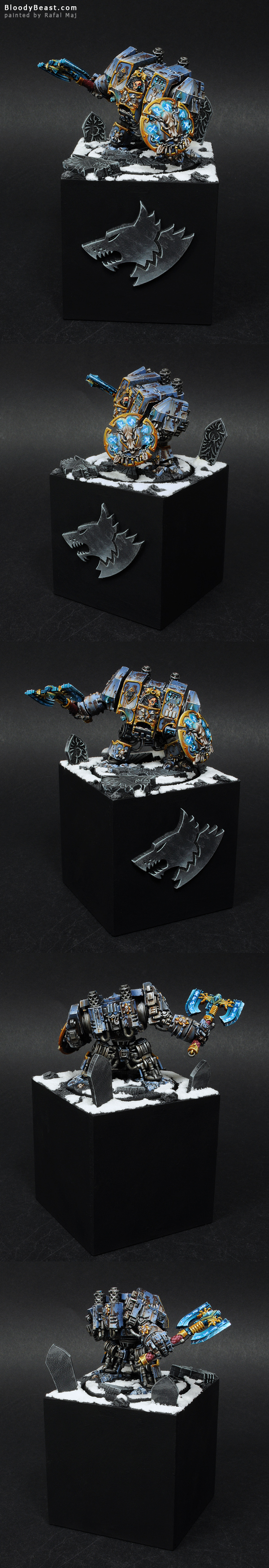 Space Wolves Venerabe Dreadnought on Plinth painted by Rafal Maj (BloodyBeast.com)