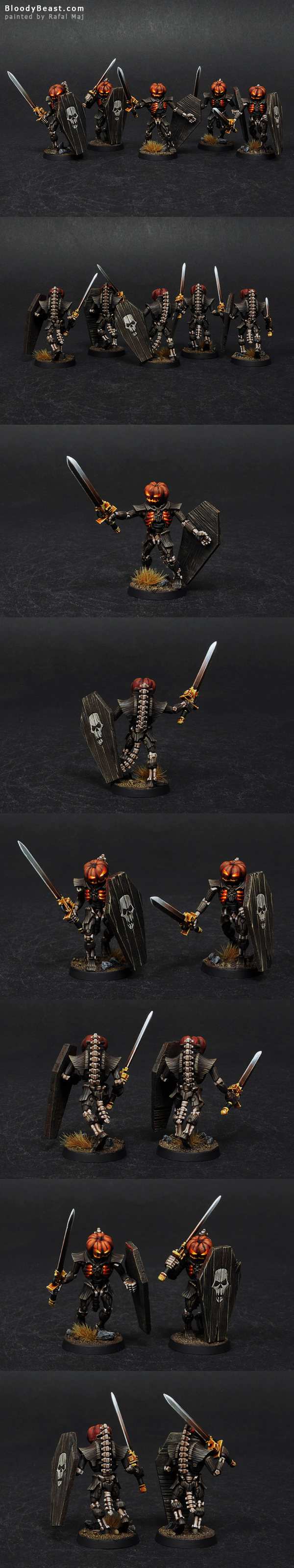 Necron Lychguards of the Pumpkin Dynasty painted by Rafal Maj (BloodyBeast.com)