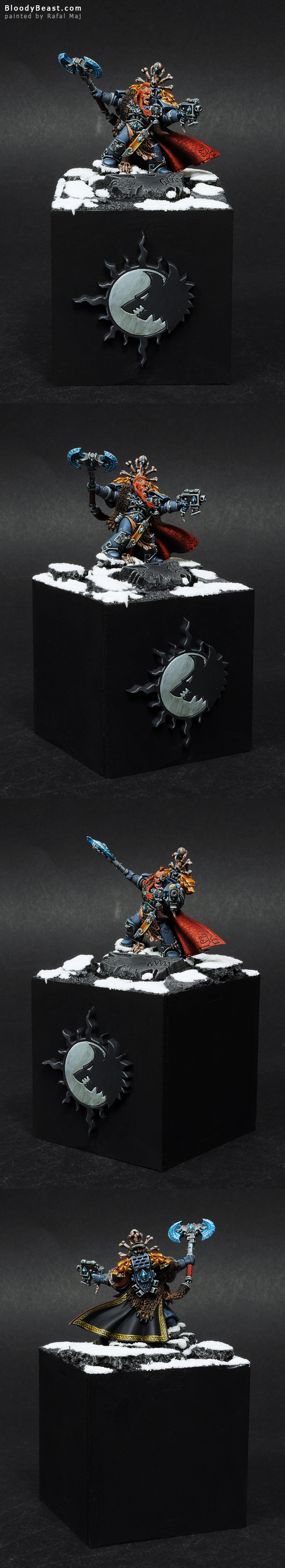 Space Wolves Krom Dragongaze on Plinth painted by Rafal Maj (BloodyBeast.com)