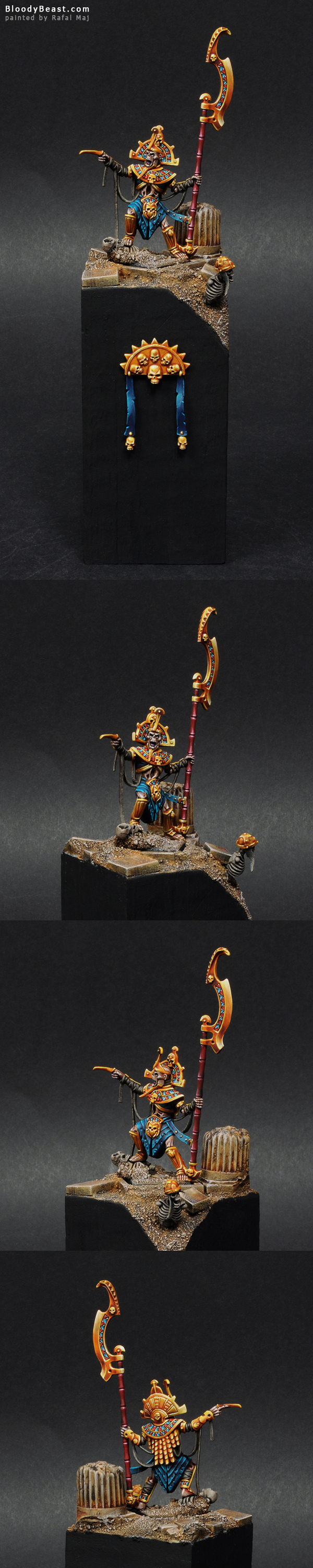Tomb King on Plinth painted by Rafal Maj (BloodyBeast.com)
