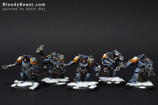 Space Wolves Wolf Guards With Thunder Hammers painted by Rafal Maj (BloodyBeast.com)
