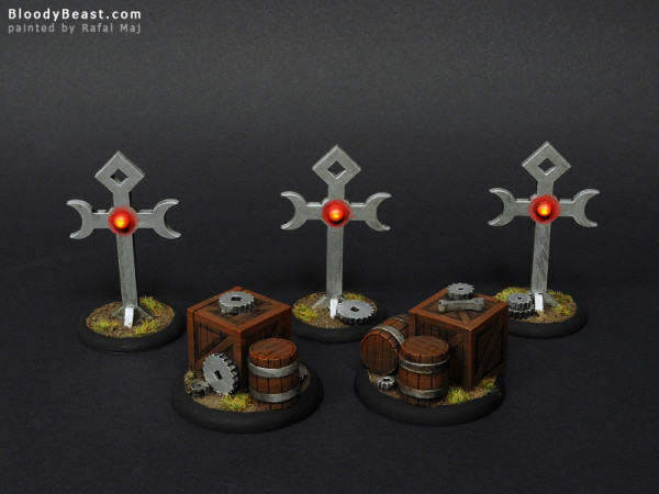 Warmachine Flags and Objective Markers painted by Rafal Maj (BloodyBeast.com)