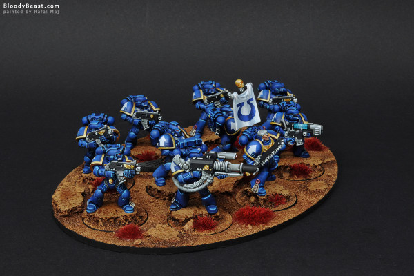 Space Marines Ultramarines Tactical Squad painted by Rafal Maj (BloodyBeast.com)