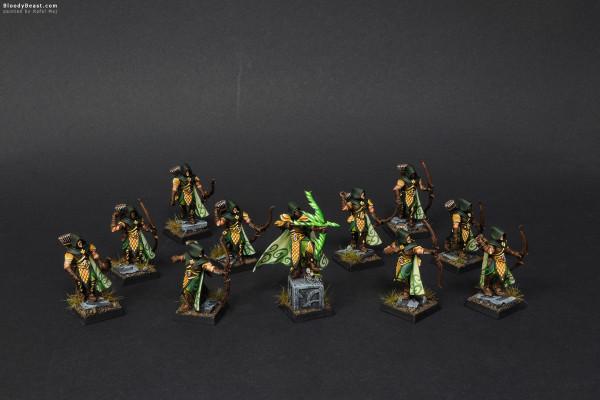 Wood Elves Waywatchers with Waystalker painted by Rafal Maj (BloodyBeast.com)