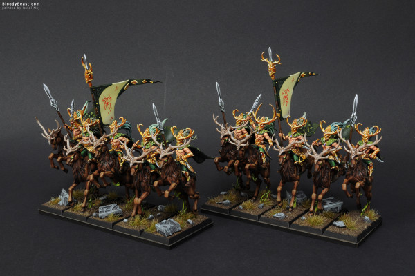 Wood Elves Wild Riders painted by Rafal Maj (BloodyBeast.com)